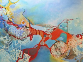 07.  CELL DIVISION & LACE  36 x 60 acrylic canvas on board framed $ 4000.00 Tanta DeStaffany Pennington