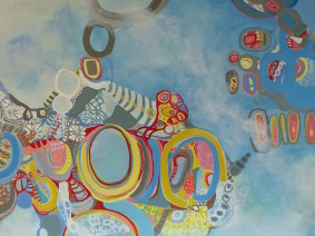 Genotic code re-drawn  42 in x 36 in acrylic on canvas & board