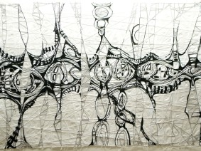 13. FRAGMENTED CONVERSATIONS ink, pen, & gouache  on rag paper 24 in. x 35 in. Tanta DeStaffany Pennington